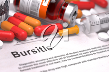 Diagnosis - Bursitis. Medical Concept with Red Pills, Injections and Syringe. Selective Focus. 3D Render.