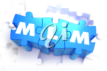 MLM - Multi Level Marketing - Text on Blue Puzzles on White Background. 3D Render.