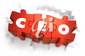 CEO - Chief Executive Officer - White Word on Red Puzzles on White Background. 3D Illustration.
