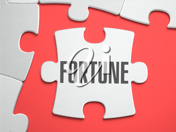 Fortune - Text on Puzzle on the Place of Missing Pieces. Scarlett Background. Close-up. 3d Illustration.