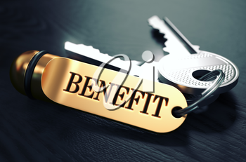 Keys with Word Benefit on Golden Label over Black Wooden Background. Closeup View, Selective Focus, 3D Render. Toned Image.