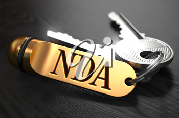 Keys with Word NDA - Non Disclosure Agreement - on Golden Label over Black Wooden Background. Closeup View, Selective Focus, 3D Render.