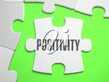 Positivity - Jigsaw Puzzle with Missing Pieces. Bright Green Background. Close-up. 3d Illustration.