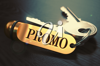 Promo Concept. Keys with Golden Keyring on Black Wooden Table. Closeup View, Selective Focus, 3D Render. Toned Image.