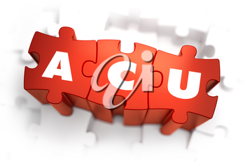 ACU - Average Concurrent Use - Text on Red Puzzles with White Background. 3D Render.