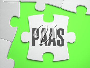 PAAS - Jigsaw Puzzle with Missing Pieces. Bright Green Background. Close-up. 3d Illustration.