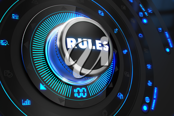Rules Controller on Black Control Console with Blue Backlight. Improvement, regulation, control or management concept.