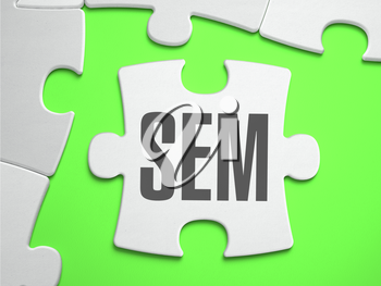 SEM - Search Engines Marketing - Jigsaw Puzzle with Missing Pieces. Bright Green Background. Close-up. 3d Illustration.