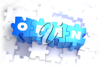 Open - Text on Blue Puzzles on White Background. 3D Render.