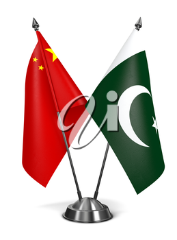 China and Pakistan - Miniature Flags Isolated on White Background.