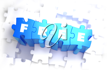 Free - White Word on Blue Puzzles on White Background. 3D Illustration.