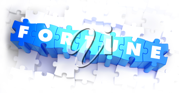 Fortune - White Word on Blue Puzzles on White Background. 3D Illustration.