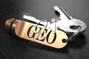 Keys and Golden Keyring with the Word GEO over Black Wooden Table with Blur Effect.