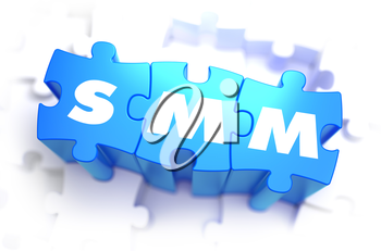 SMM - Social Media Marketing - Text on Blue Puzzles on White Background. 3D Render.