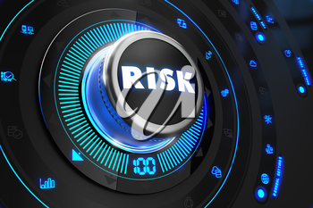 Risk Controller on Black Control Console with Blue Backlight. Improvement, regulation, control or management concept.