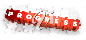 Progress - White Word on Red Puzzles on White Background. 3D Render.