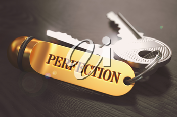 Perfection Concept. Keys with Golden Keyring on Black Wooden Table. Closeup View, Selective Focus, 3D Render. Toned Image.