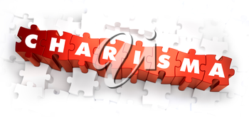 Charisma - White Word on Red Puzzles on White Background. 3D Illustration.