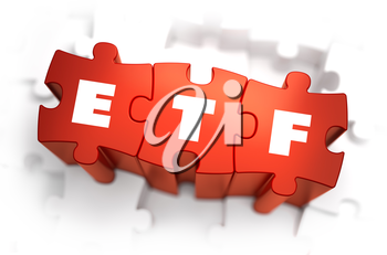 ETF - Exchange Traded Fund - Text on Red Puzzles with White Background. 3D Render.