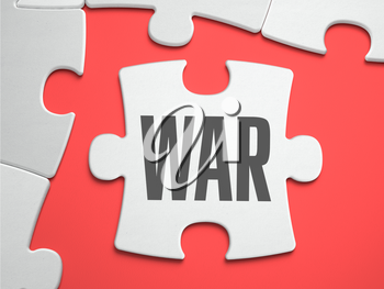 WAR - Text on Puzzle on the Place of Missing Pieces. Scarlett Background. Close-up. 3d Illustration.