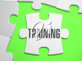 Training - Jigsaw Puzzle with Missing Pieces. Bright Green Background. Close-up. 3d Illustration.