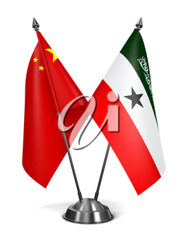 China and Somaliland - Miniature Flags Isolated on White Background.