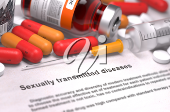 Sexually Transmitted Diseases - Printed Diagnosis with Red Pills, Injections and Syringe. Medical Concept with Selective Focus.