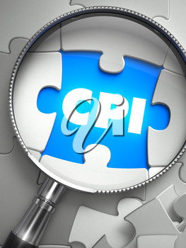 CPI - Consumer Price Index - Puzzle with Missing Piece through Loupe. 3d Illustration with Selective Focus.