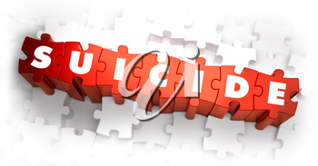 Suicide - Text on Red Puzzles with White Background. 3D Render.