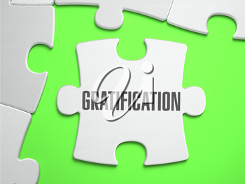 Gratification - Jigsaw Puzzle with Missing Pieces. Bright Green Background. Close-up. 3d Illustration.