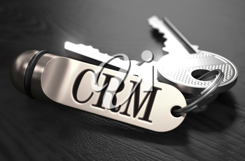 CRM - Customer Relationship Management - Concept. Keys with Keyring on Black Wooden Table. Closeup View, Selective Focus, 3D Render. Black and White Image.