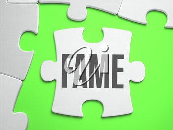 Fame - Jigsaw Puzzle with Missing Pieces. Bright Green Background. Close-up. 3d Illustration.