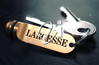 Largesse Concept. Keys with Golden Keyring on Black Wooden Table. Closeup View, Selective Focus, 3D Render. Toned Image.