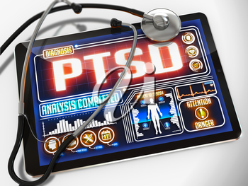 PTSD - Diagnosis on the Display of Medical Tablet and a Black Stethoscope on White Background.