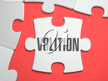 Volition - Text on Puzzle on the Place of Missing Pieces. Scarlett Background. Close-up. 3d Illustration.