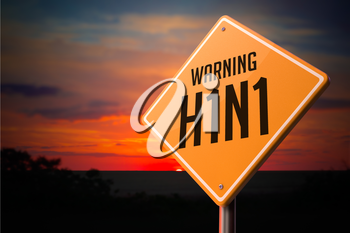 H1N1 on Warning Road Sign on Sunset Sky Background.