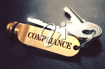 Keys with Word Compliance on Golden Label over Black Wooden Background. Closeup View, Selective Focus, 3D Render. Toned Image.