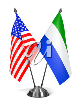 USA and Sierra Leone - Miniature Flags Isolated on White Background.