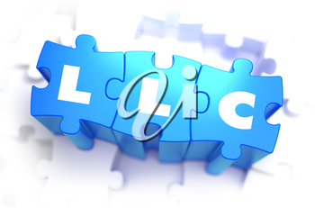 LLC - Limited Legal Liability - White Word on Blue Puzzles on White Background. 3D Render.