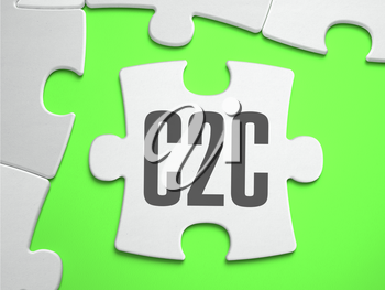 C2C - Customer to Customer - Jigsaw Puzzle with Missing Pieces. Bright Green Background. Close-up. 3d Illustration.