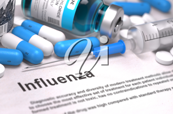 Diagnosis - Influenza. Medical Concept with Blue Pills, Injections and Syringe. Selective Focus. Blurred Background.