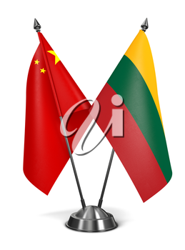 China and Lithuania - Miniature Flags Isolated on White Background.