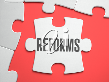 Reforms - Text on Puzzle on the Place of Missing Pieces. Scarlett Background. Close-up. 3d Illustration.