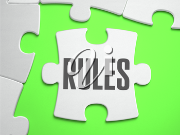 Rules - Jigsaw Puzzle with Missing Pieces. Bright Green Background. Close-up. 3d Illustration.