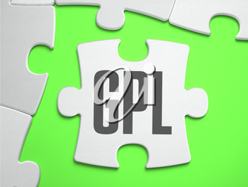 GPL - General Public License - Jigsaw Puzzle with Missing Pieces. Bright Green Background. Close-up. 3d Illustration.
