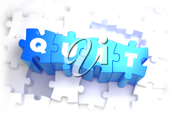 Quit - Text on Blue Puzzles on White Background. 3D Render.