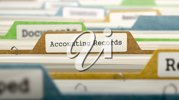 File Folder Labeled as Accounting Records in Multicolor Archive. Closeup View. Blurred Image.