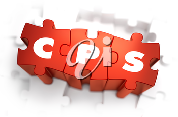 CPS - Cost Per Sale - White Word on Red Puzzles on White Background. 3D Illustration.