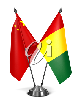 China and Guinea - Miniature Flags Isolated on White Background.
