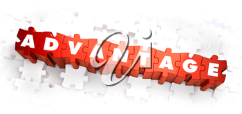 Advantage - White Word on Red Puzzles on White Background. 3D Illustration.